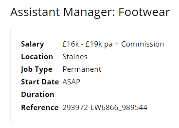 Assistant Manager: Footwear