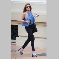 In Monaco Lindsay Lohan in Striking Striped Platform Sandals