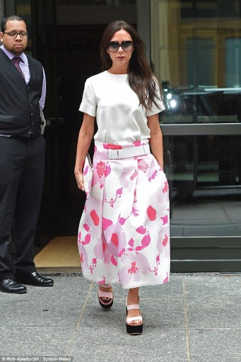 Victoria Beckham leaves her New York hotel in chunky sandals and a floral skirt, June 4, 2015